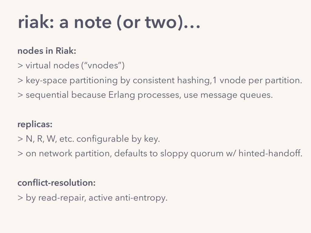 "nodes in Riak: > virtual nodes (""vnodes"") > key..."
