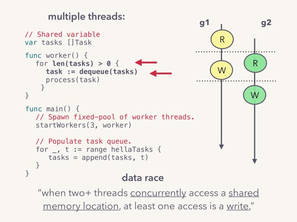 multiple threads: // Shared variable var tasks ...