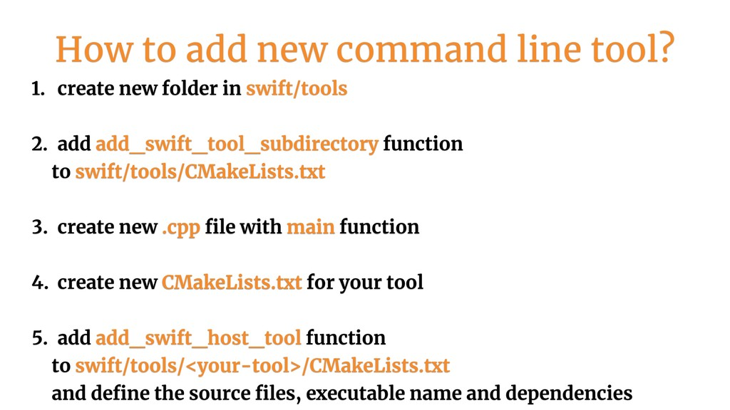 1. create new folder in swift/tools