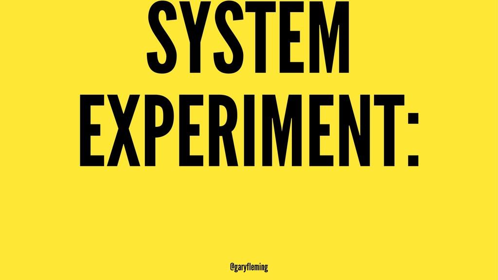 SYSTEM EXPERIMENT: @garyfleming