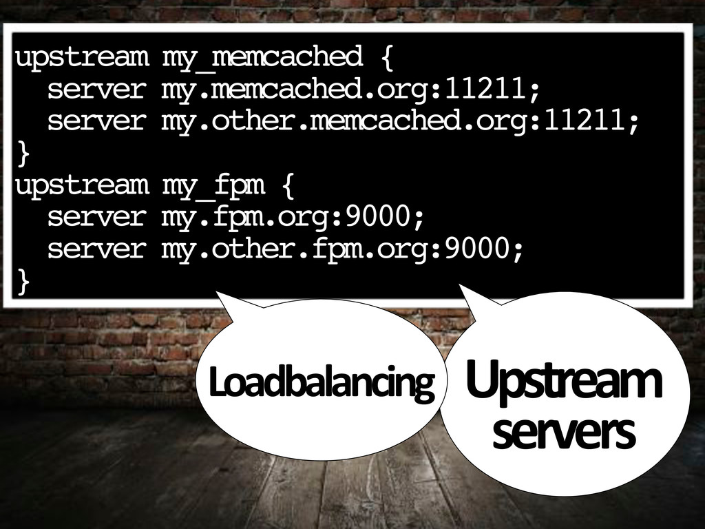 """upstream my_memcached { """" server my.memcached.o..."""