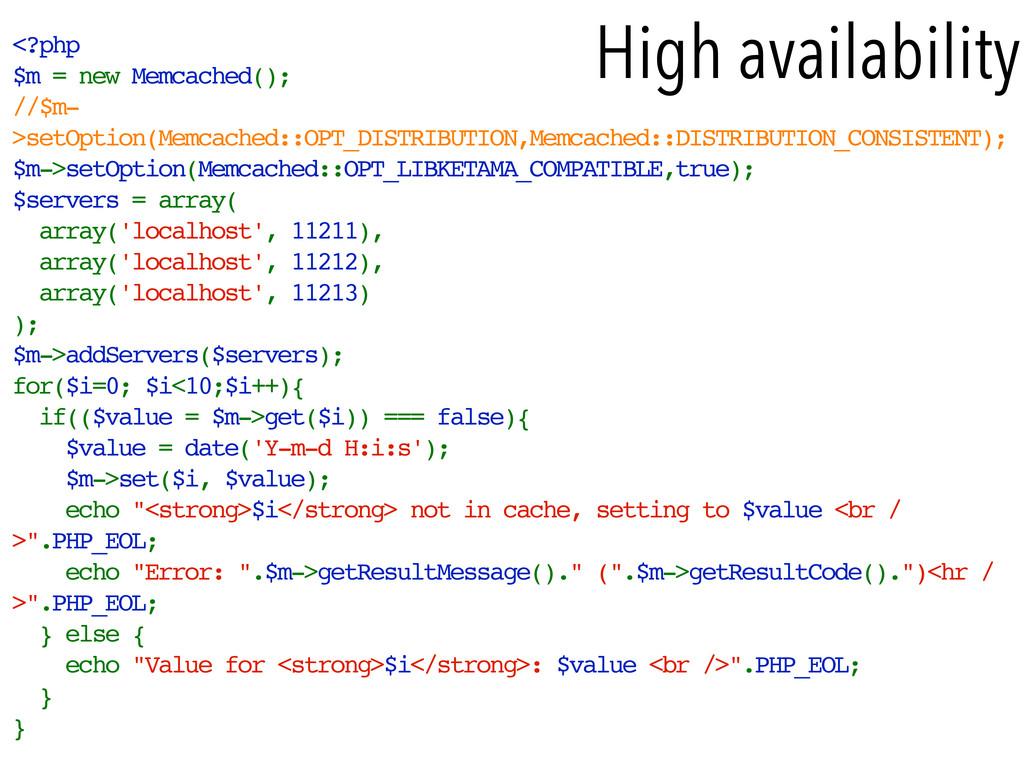 <?php $m = new Memcached(); //$m- >setOption(Me...