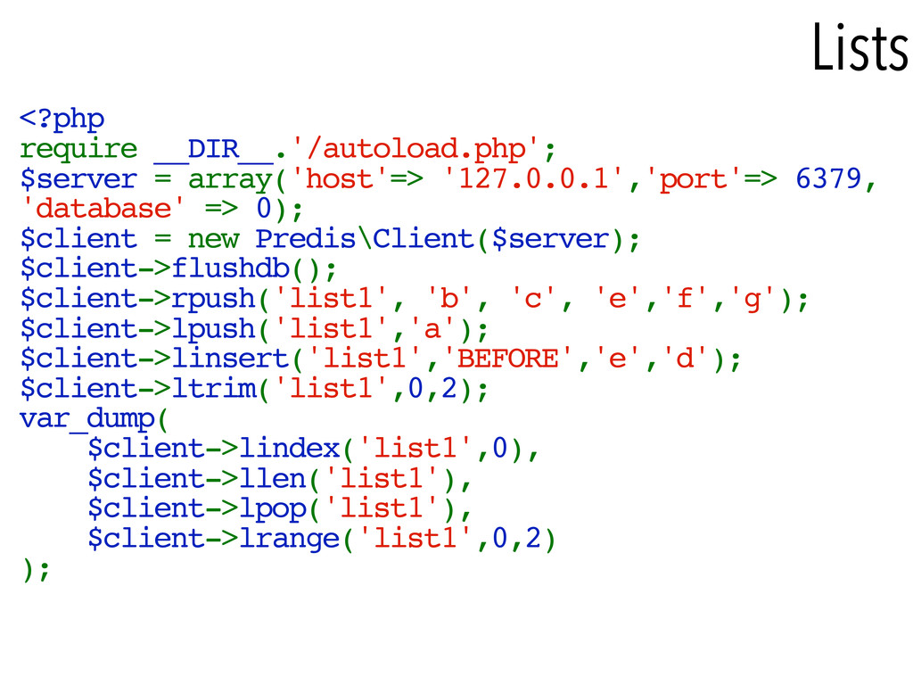 Lists <?php require __DIR__.'/autoload.php'; $s...