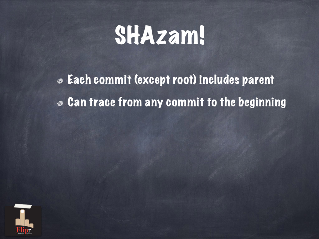 SHAzam! Each commit (except root) includes pare...