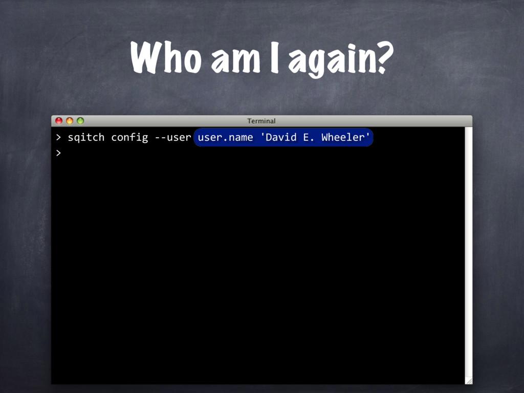 Who am I again? > sqitch config --user user.nam...