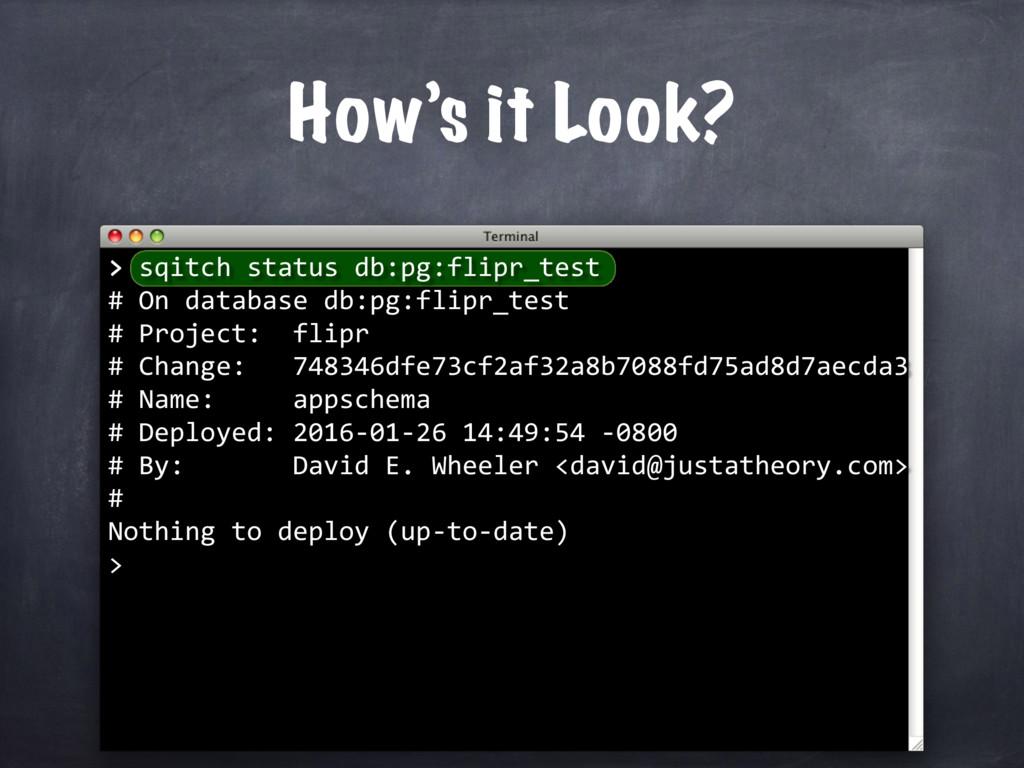 > How's it Look? > sqitch status db:pg:flipr_te...