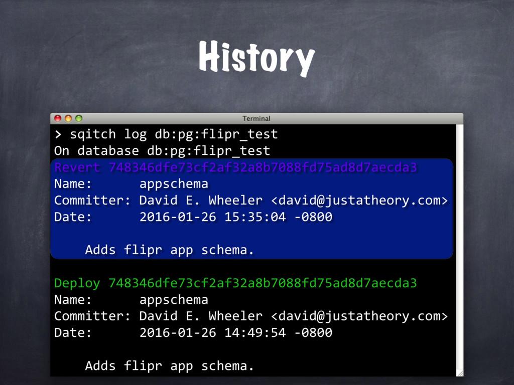 History > > sqitch log db:pg:flipr_test On data...