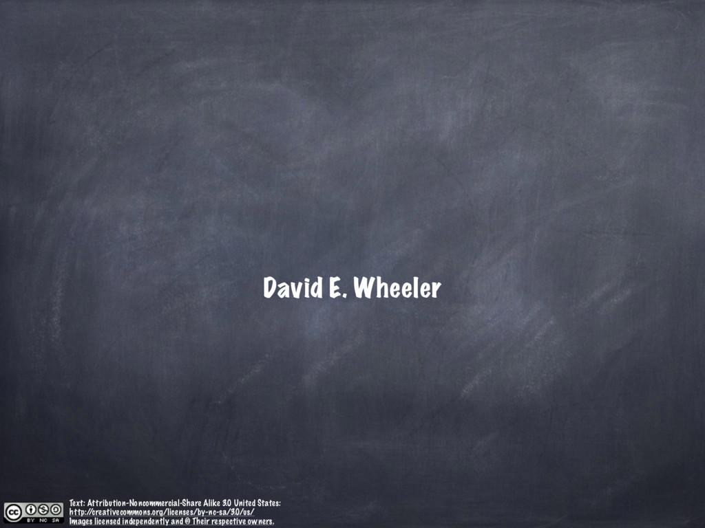 David E. Wheeler Text: Attribution-Noncommercia...