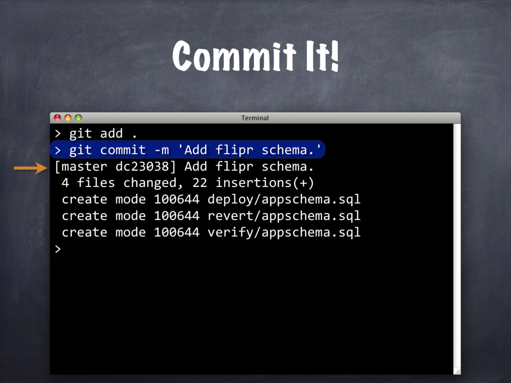 Commit It! > git add . > git commit -m 'Add fli...