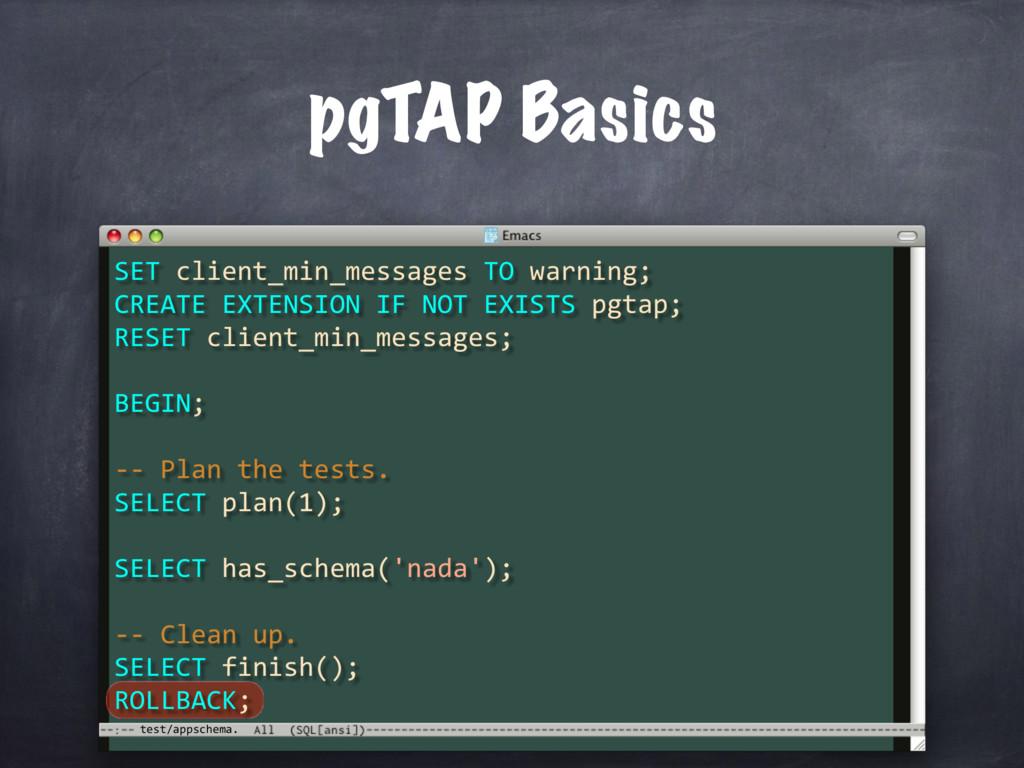 test/appschema. pgTAP Basics SET client_min_mes...