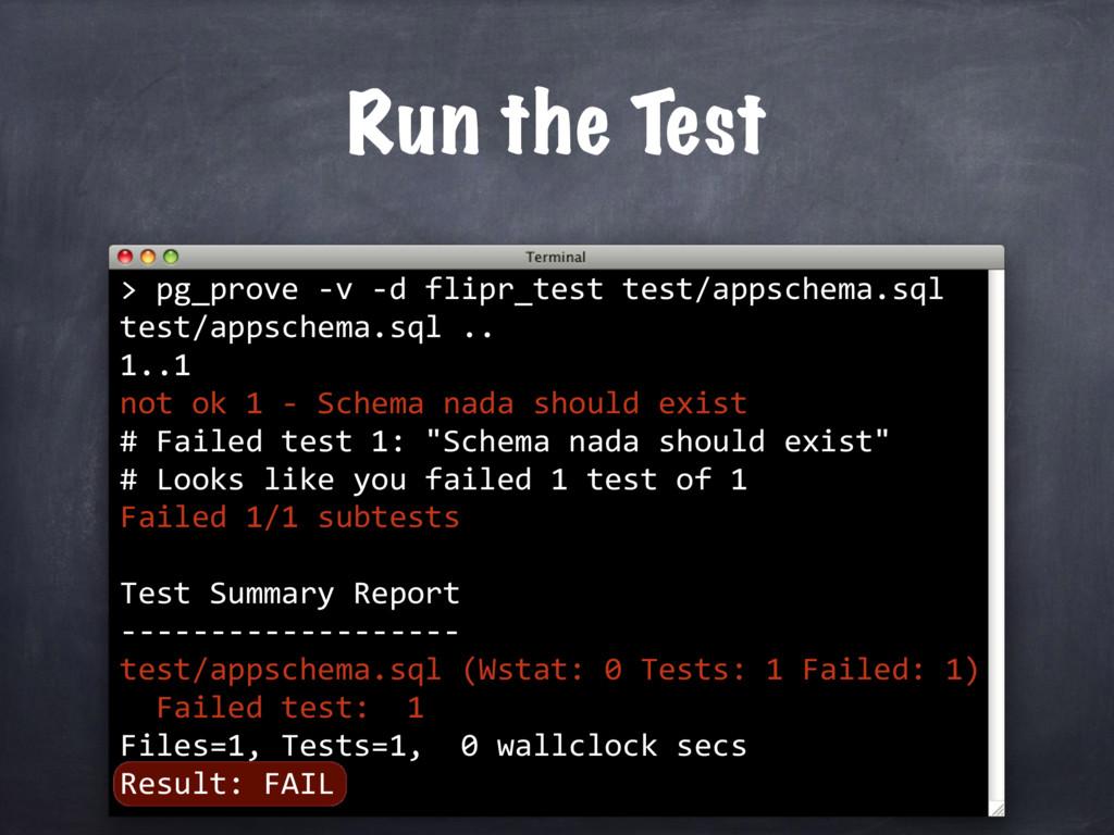 > Run the Test pg_prove -v -d flipr_test test/a...