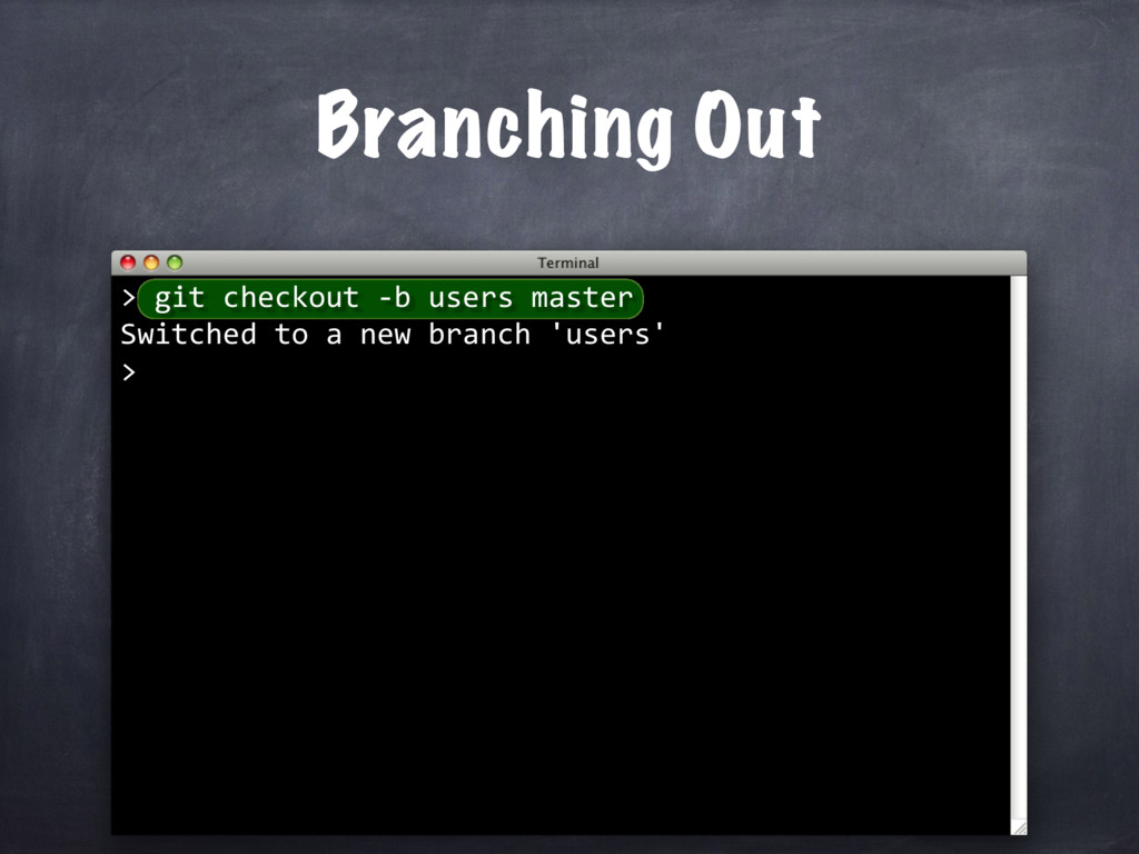 git checkout -b users master Switched to a new ...