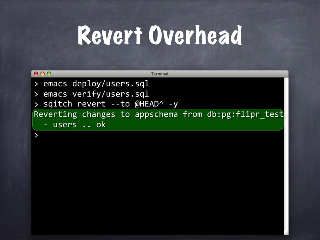 Revert Overhead sqitch revert --to @HEAD^ -y Re...