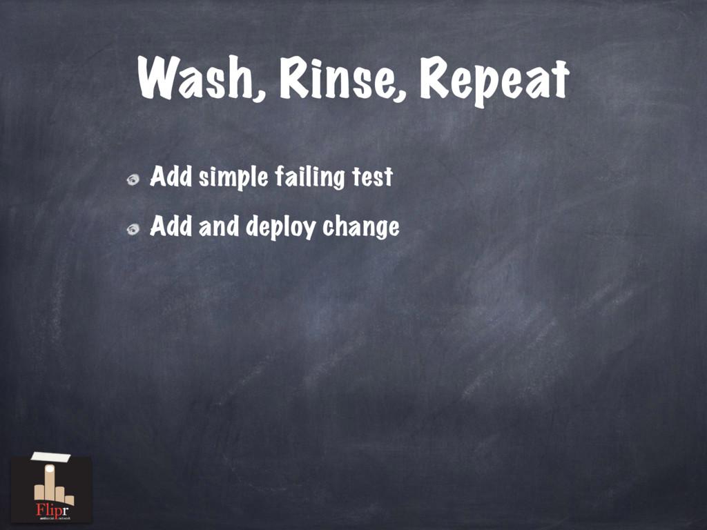 Wash, Rinse, Repeat Add simple failing test Add...
