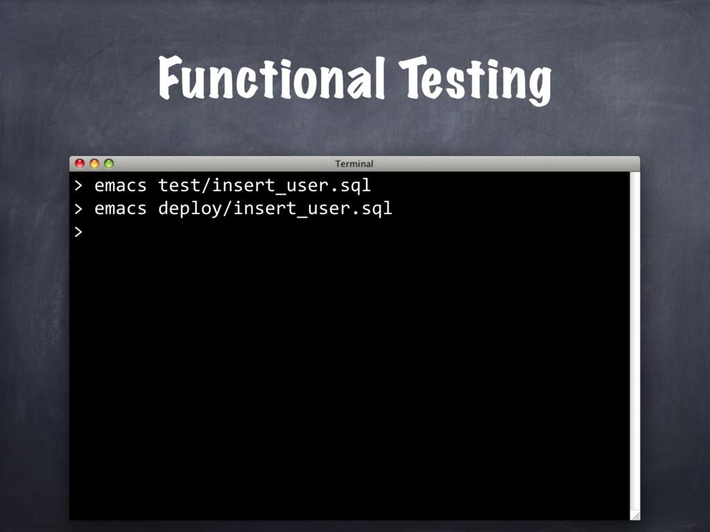 Functional Testing emacs test/insert_user.sql >...