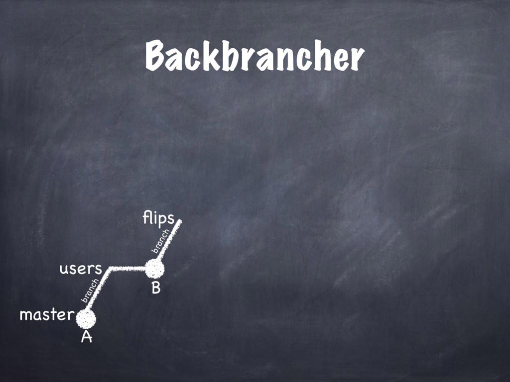 Backbrancher master users A B flips branch branch