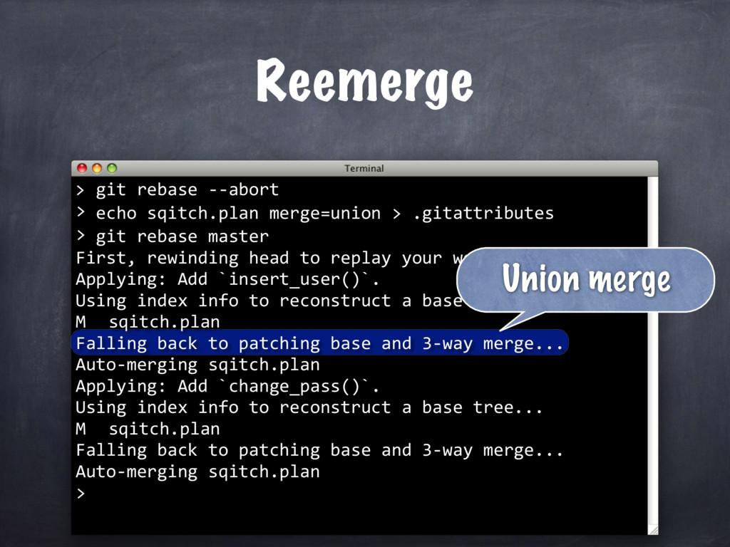 echo sqitch.plan merge=union > .gitattributes >...