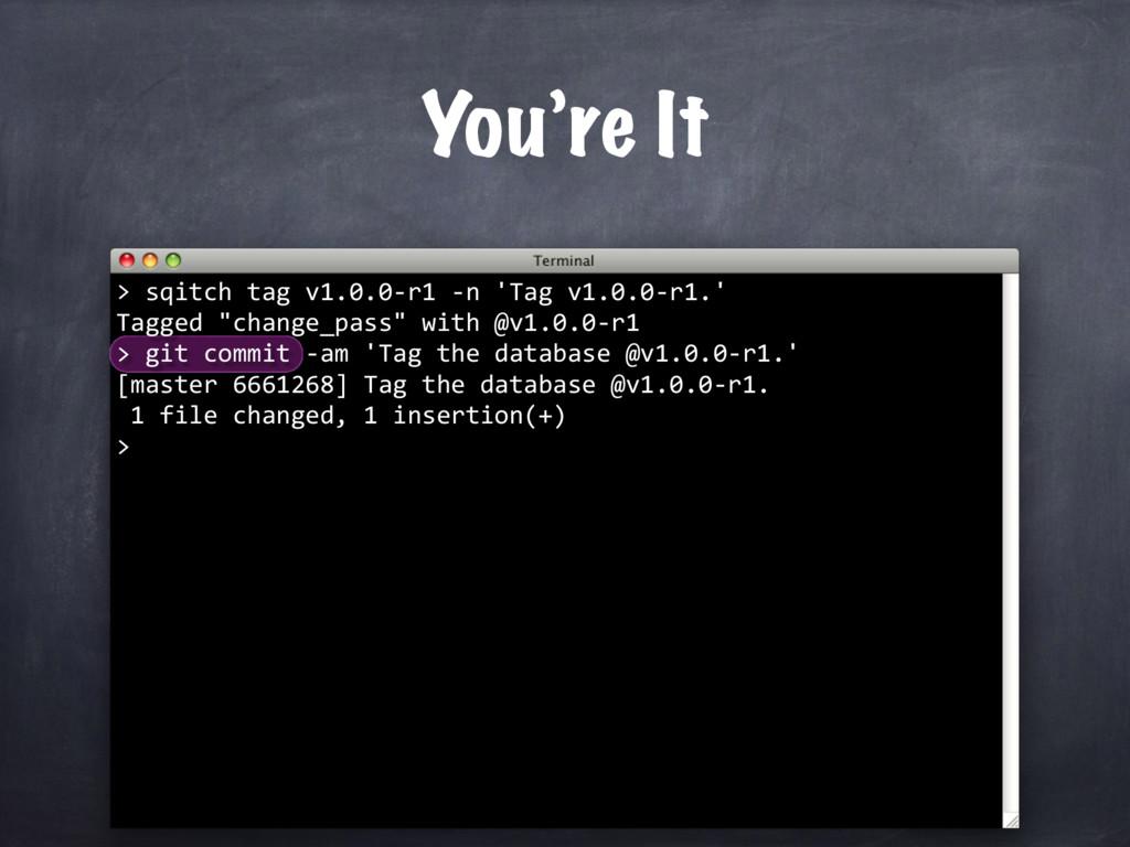sqitch tag v1.0.0-r1 -n 'Tag v1.0.0-r1.' Tagged...