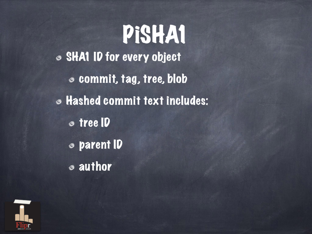 PiSHA1 SHA1 ID for every object commit, tag, tr...