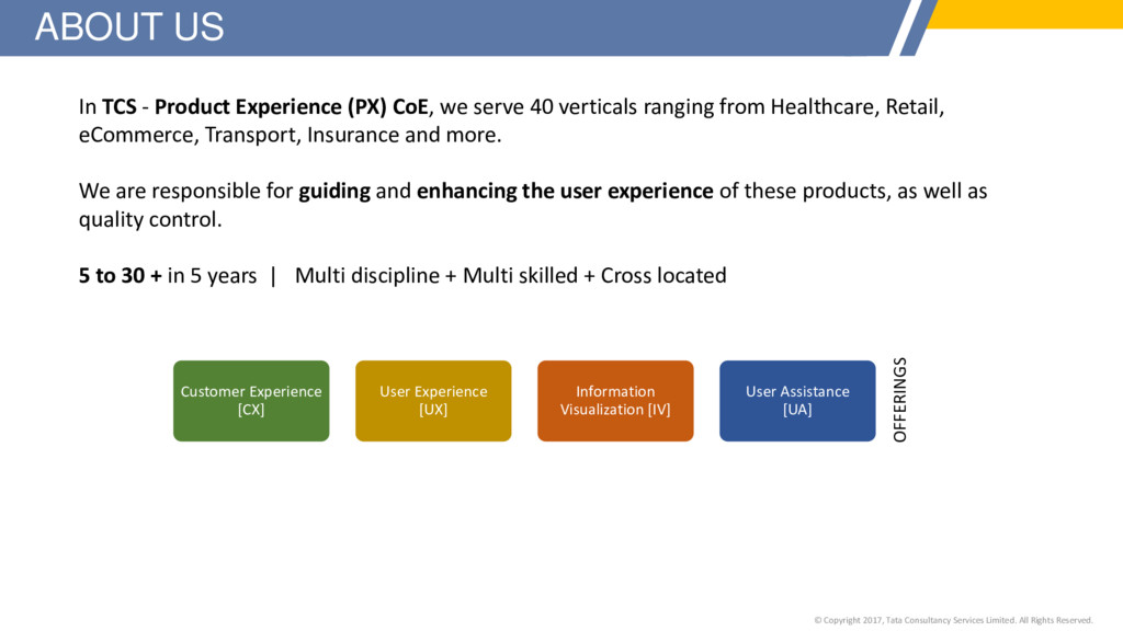 In TCS - Product Experience (PX) CoE, we serve ...