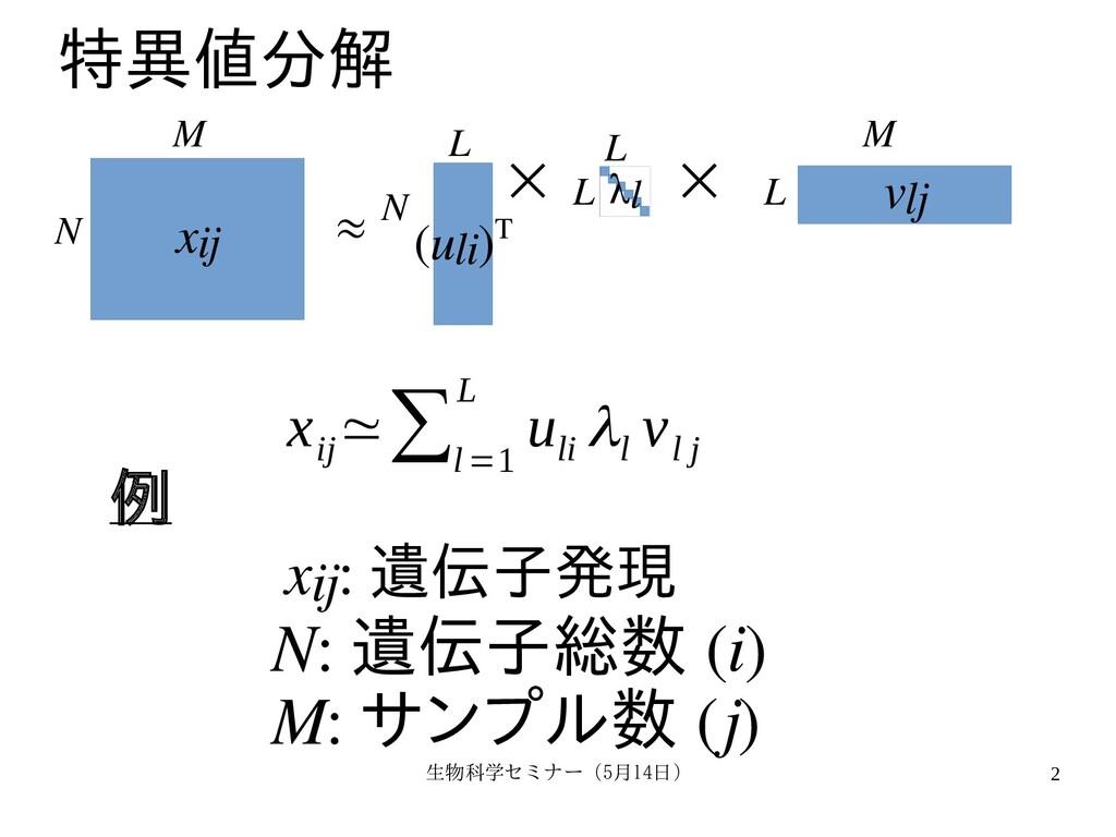生物科学セミナー(5月セミナー(5月14日)月14日) 2 特異値分解を用いた教師無 xij ...