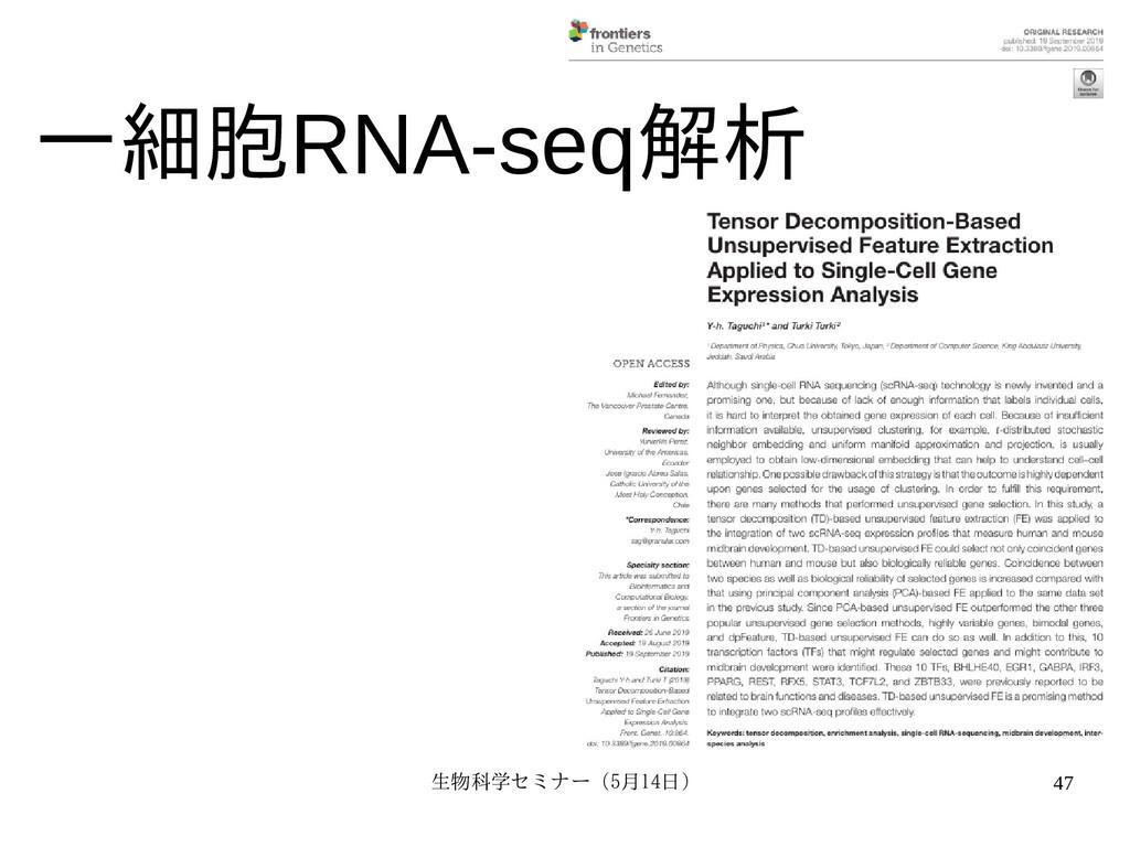 生物科学セミナー(5月セミナー(5月14日)月14日) 47 一細胞RNA-seq解を用いた教...