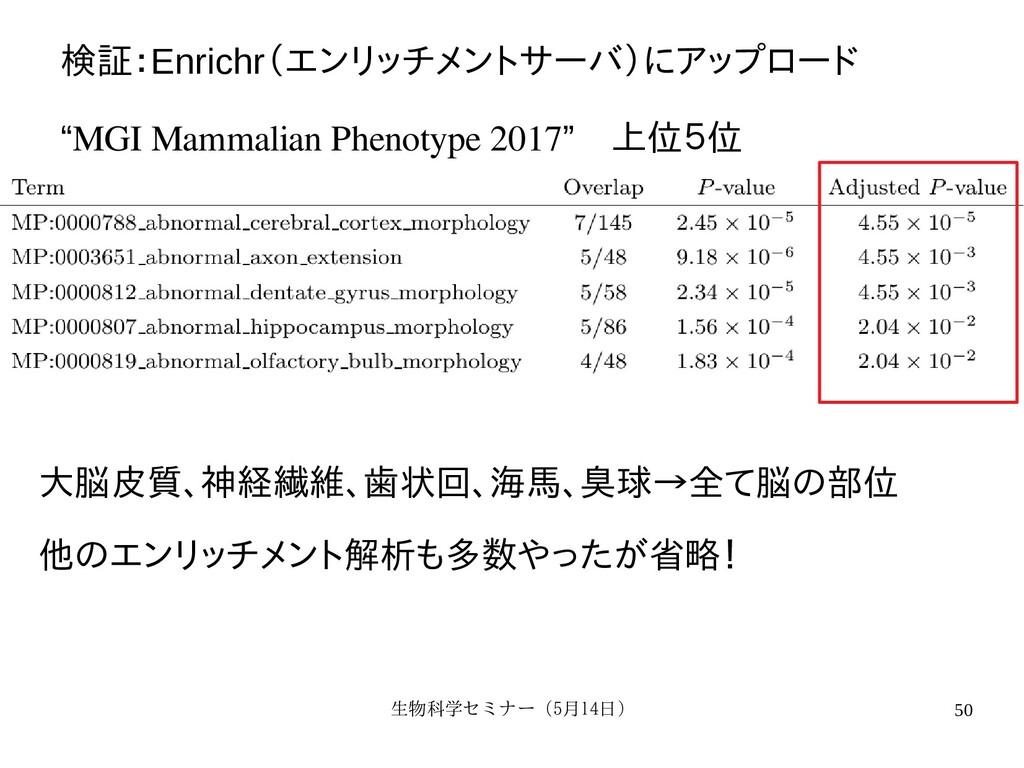 生物科学セミナー(5月セミナー(5月14日)月14日) 50 検証:行:培養細胞、Enrich...