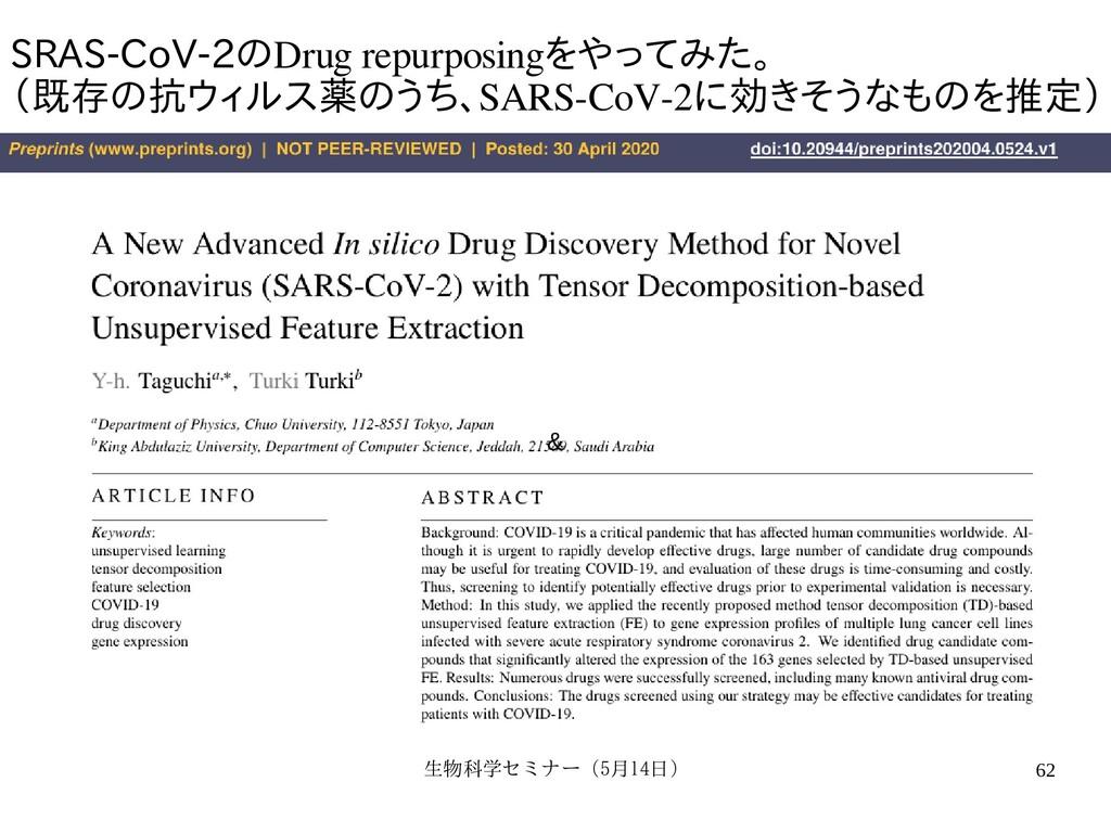 生物科学セミナー(5月セミナー(5月14日)月14日) 62 SRAS-CoV-2のDrug ...