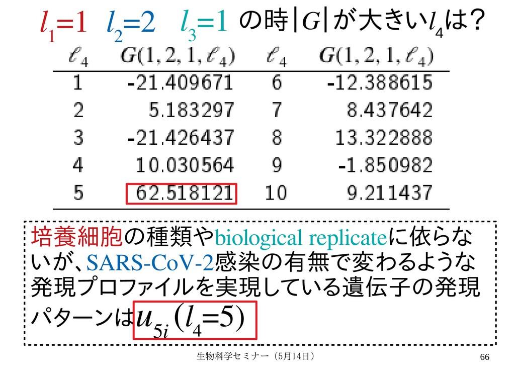 生物科学セミナー(5月セミナー(5月14日)月14日) 66 l 1 =1 l 2 =2 l ...
