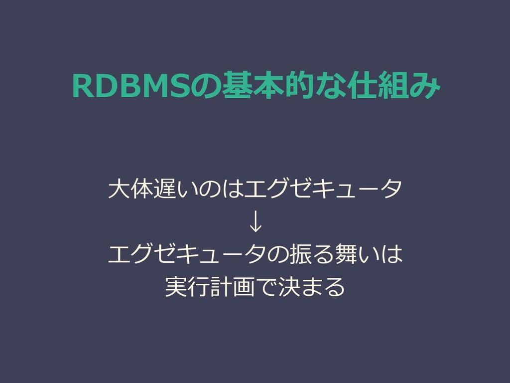 RDBMSの基本的な仕組み 大体遅いのはエグゼキュータ ↓ エグゼキュータの振る舞いは 実行計...