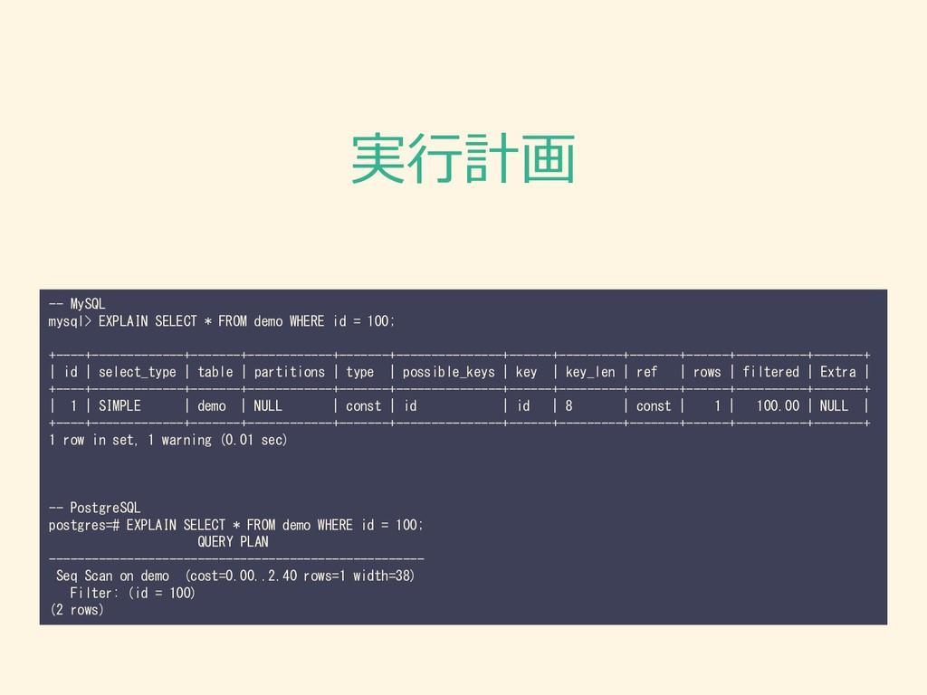 実行計画 -- MySQL mysql> EXPLAIN SELECT * FROM demo...