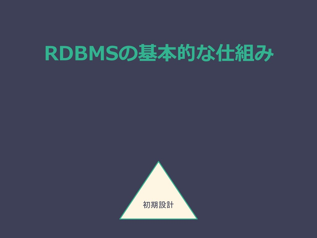 RDBMSの基本的な仕組み 初期設計