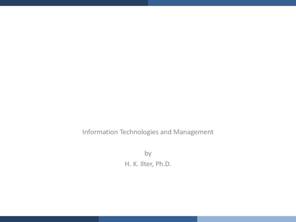 Information Technologies and Management by H. K...
