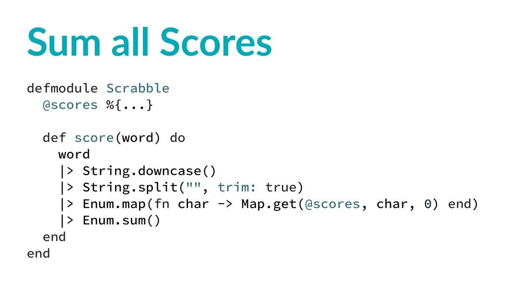 Sum all Scores defmodule Scrabble @scores %{......