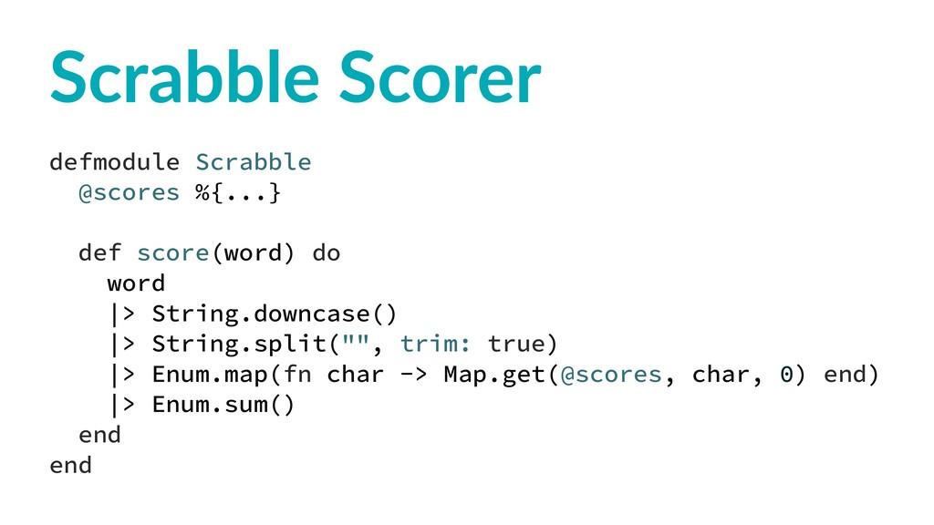Scrabble Scorer defmodule Scrabble @scores %{.....