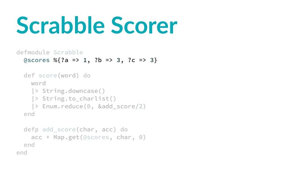 Scrabble Scorer defmodule Scrabble @scores %{?a...