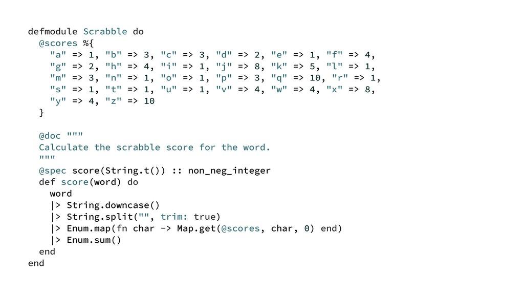 "defmodule Scrabble do @scores %{ ""a"" => 1, ""b"" ..."