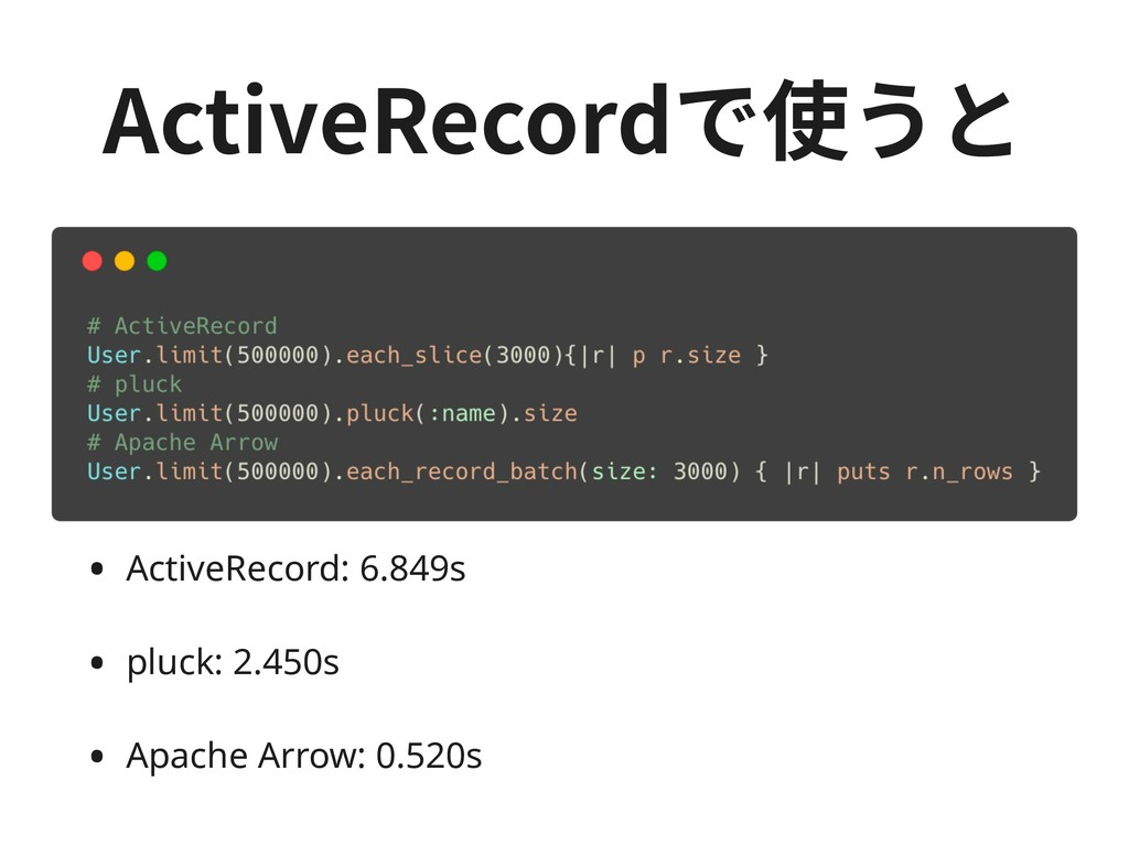 • ActiveRecord: 6.849s • pluck: 2.450s • Apache...
