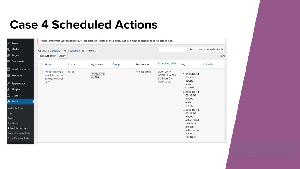Case 4 Scheduled Actions