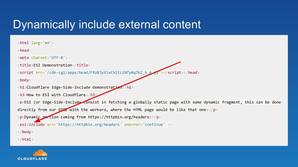 Dynamically include external content <html lang...