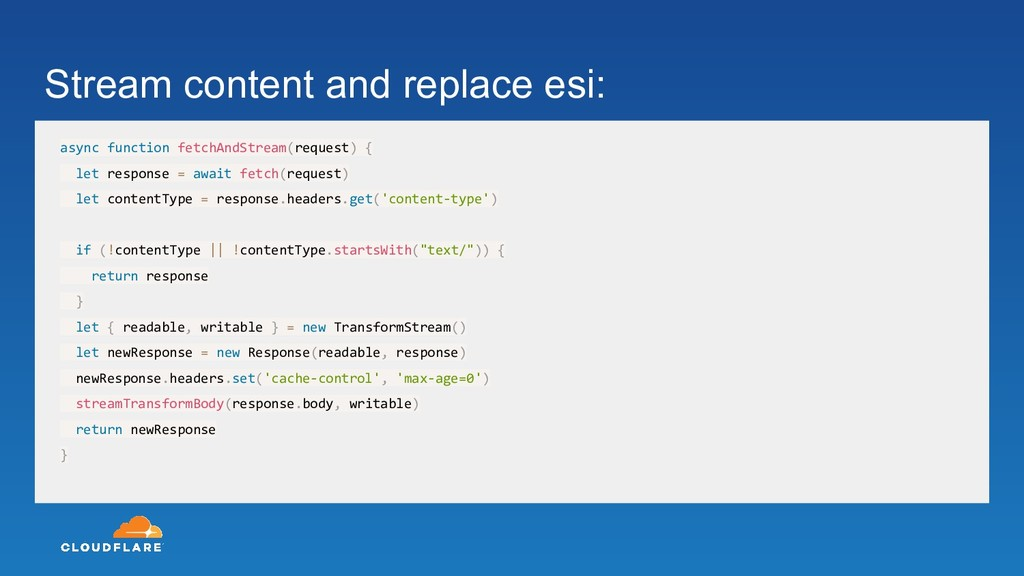 Stream content and replace esi: async function ...
