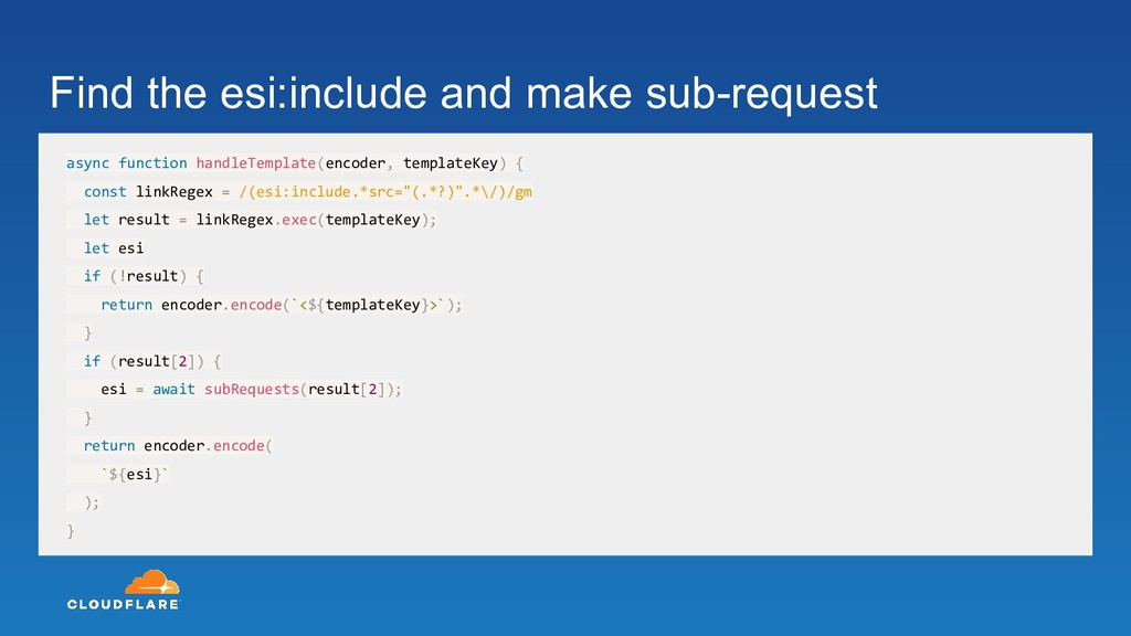 Find the esi:include and make sub-request async...