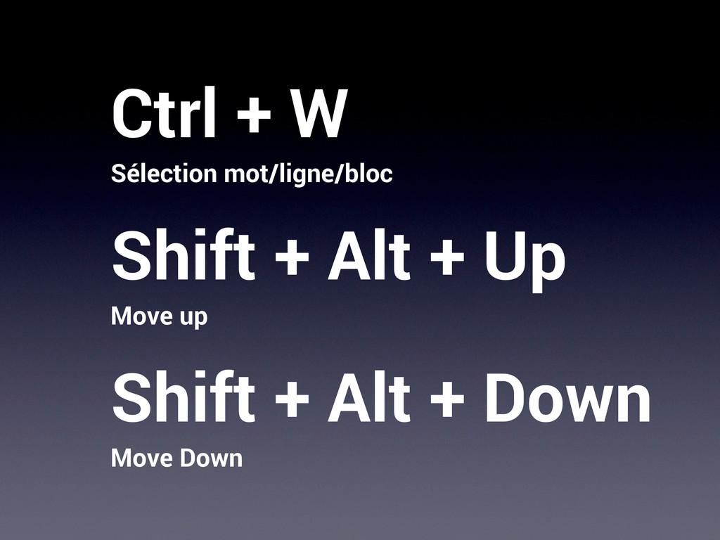 Ctrl + W Sélection mot/ligne/bloc Shift + Alt +...