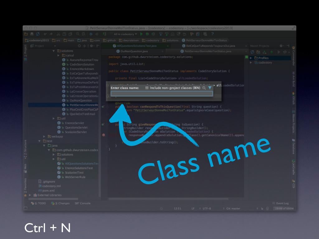 Ctrl + N Class name