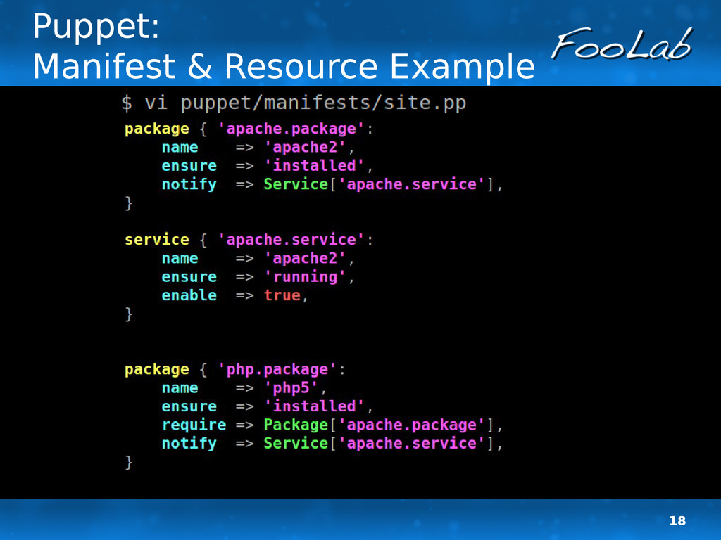 18 Puppet: Manifest & Resource Example
