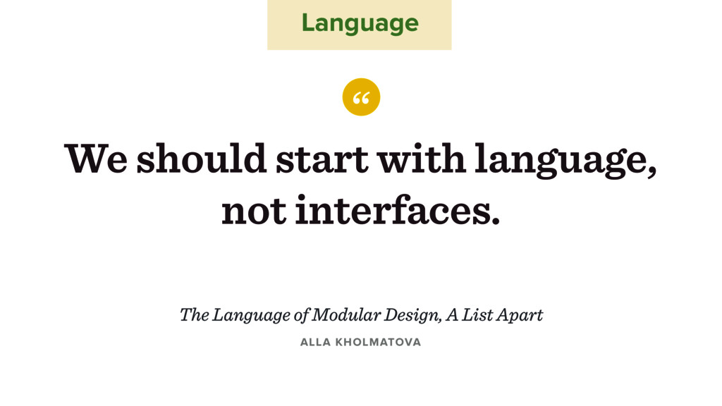 "Language "" We should start with language, not i..."