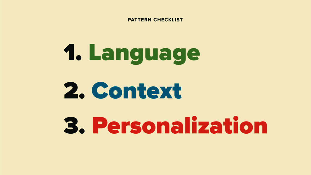 1. Language 2. Context PATTERN CHECKLIST 3. Per...