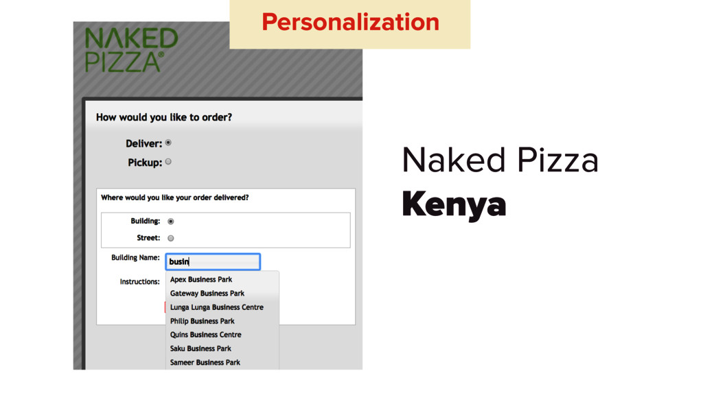 Naked Pizza Kenya Personalization