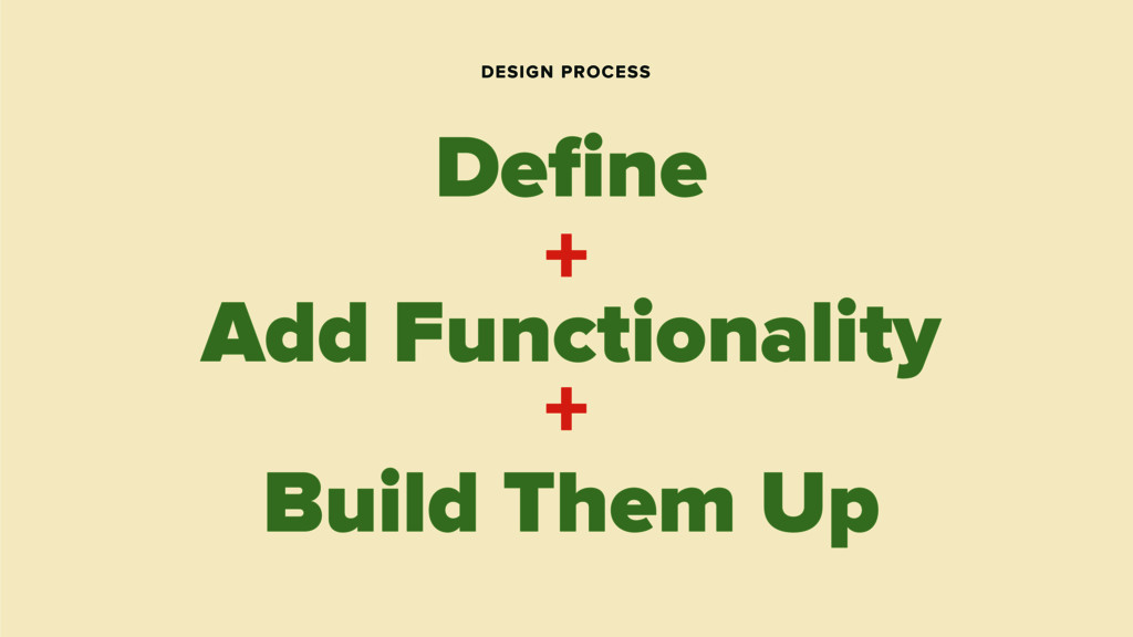 DESIGN PROCESS Define Build Them Up + + Add Func...