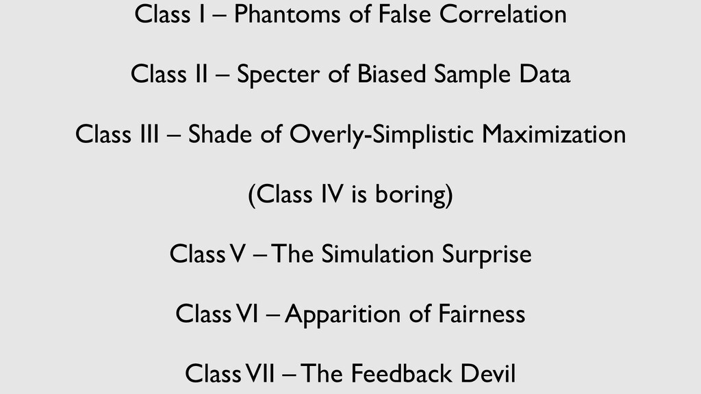 Class I – Phantoms of False Correlation Class I...